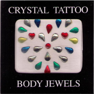 Crystal Tattoo / Body Juwels - Herz bunt